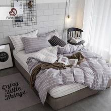 Parkshin Bedding Set Nordic Gray Stripes Linens Duvet Cover Comforter Double Sheets Bedspread Twin Queen King Adult Bedclothes