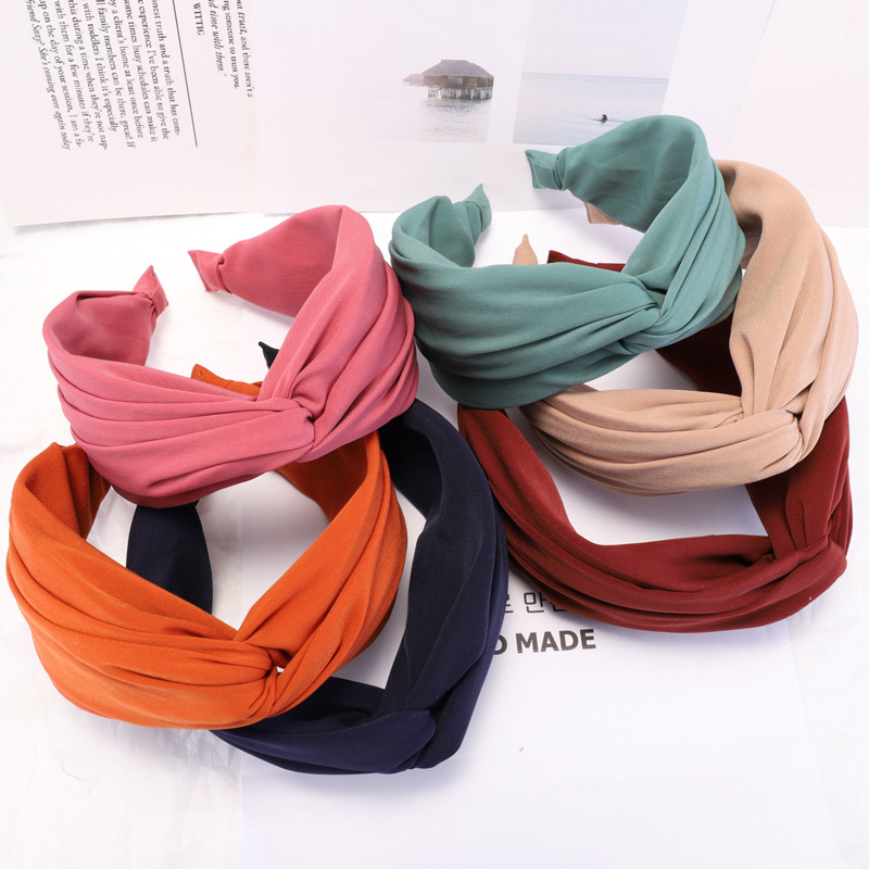 Cloth Headband 1PC Soft 20 Colors Party Elastic Wide Cross Strip Plastic Hair Hoop Hot Sale Dot Seaside Comfortable Adjustable