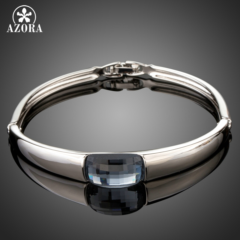 AZORA White Gold Color Rectangle Ocean Blue Australian Crystal Fold Over Clasp Bracelet Bangles TB0089