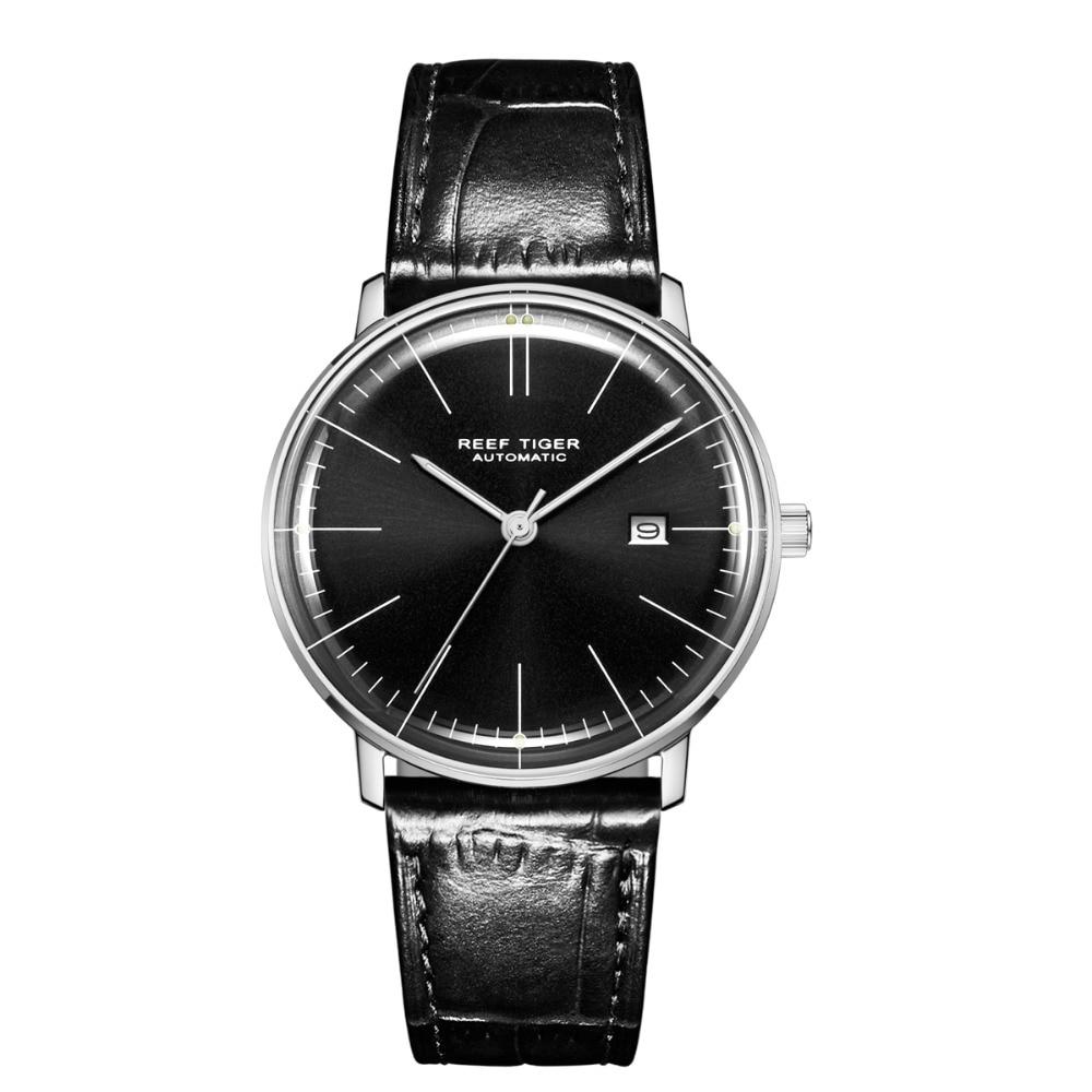 Reef Tiger Classic Serier RGA8215 Men Fashion Business Dress Ultra Thin Automatic Self-wind Mechanical Wrist Watch - Silver цена и фото