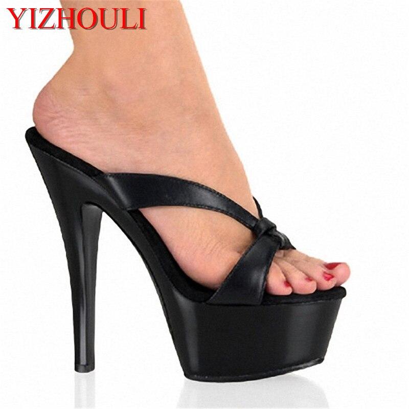 Professional custom 15cm super high heel Roman platform sandals matte black, 6in ladys slippersProfessional custom 15cm super high heel Roman platform sandals matte black, 6in ladys slippers