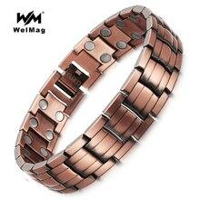 WelMag Исцеляющие магнитные медные браслеты и браслет для мужчин био-энергия двухрядный магнит Твердые медные мужские браслеты ювелирные изделия