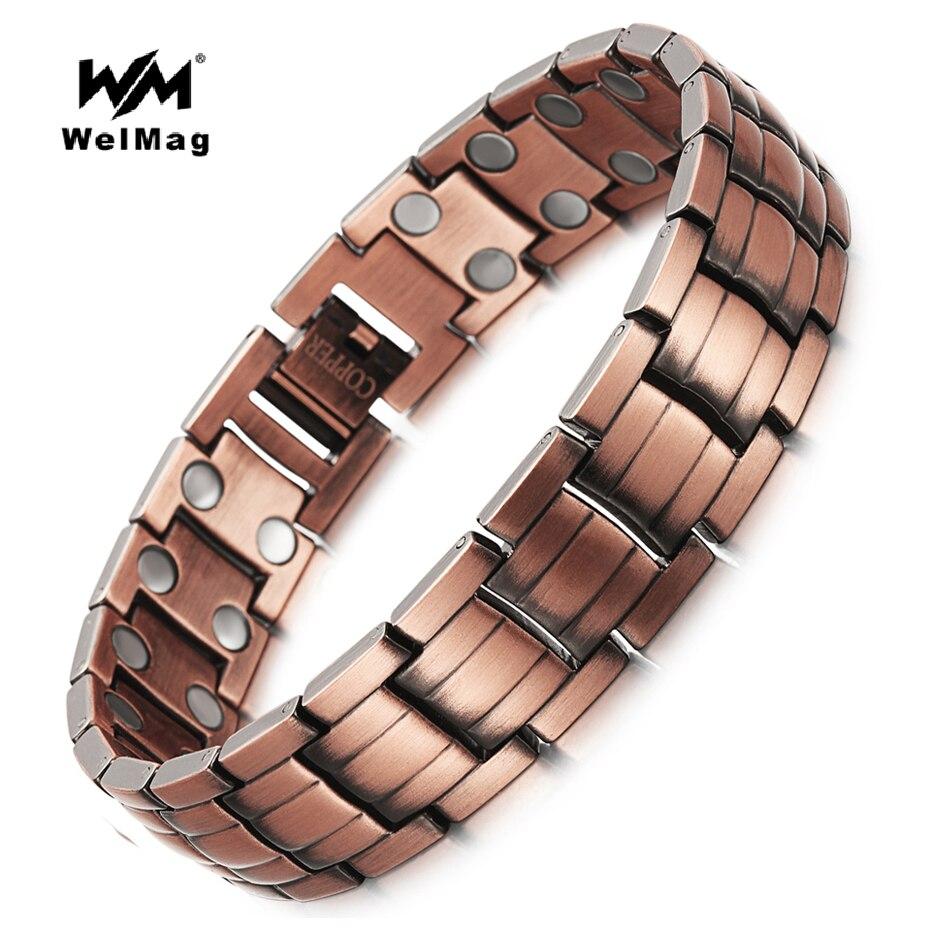 WelMag Healing Magnetische Kupfer Armbänder & Armreif für Männer Bio Energie Zweireihig Magnet solide Kupfer Männlichen Armbänder Schmuck