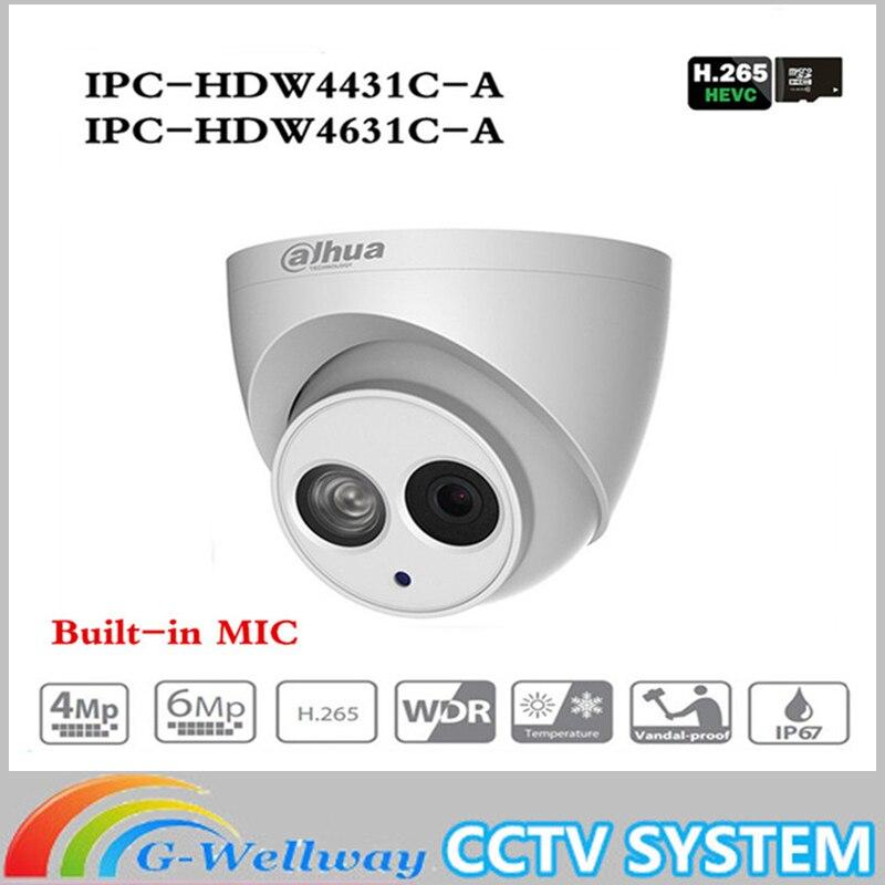 CCTV POE ip-камера IPC-HDW4433C-A IPC-HDW4631C-A POE 4MP 6MP сетевая ip-камера Встроенный микрофон 30 м ИК ночного видения WDR Onvif 2,4