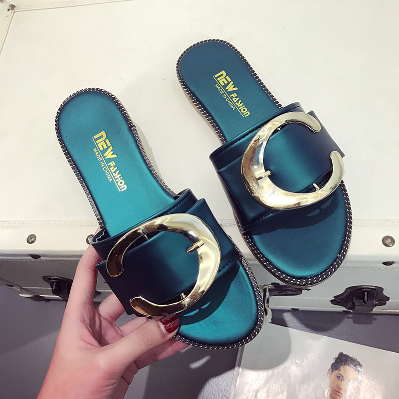 White and Green Fashion Women Flat Slides Platform New Style Female  Slippers Buckle Pu Leather Summer 9889f54f7eca
