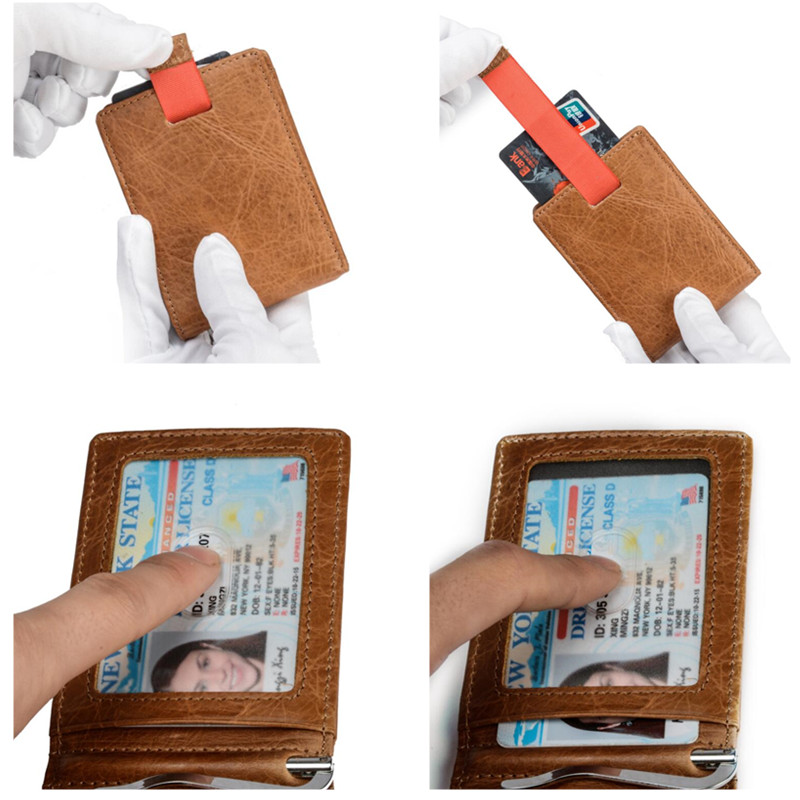 JEEP BULUO Genuine Leather Wallet Card Case Bags Super Thin Natural Cow Leather
