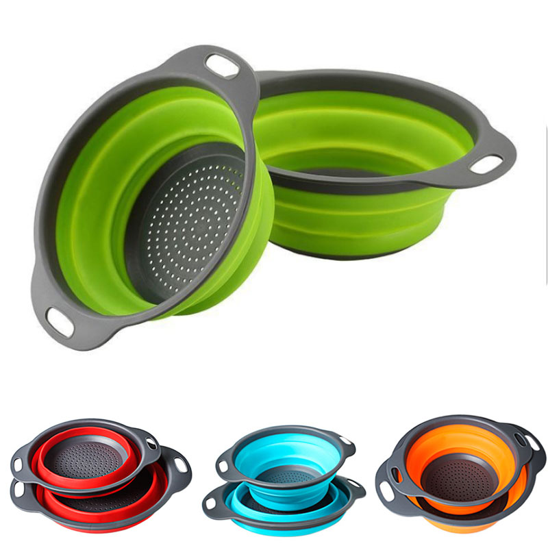 IYouNice Folding Strainers, Kitchen Collapsible Silicone Colander, Fruit Vegetable Strainer Silicone Drainer