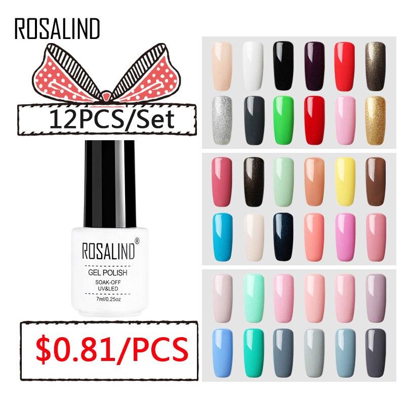 Hot Sale (12PCS/SET)ROSALIND Gel Nail Polish Set For Nail Extension ...
