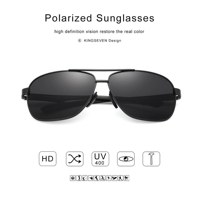 KINGSEVEN New Aluminum Brand New Polarized Sunglasses Men Fashion Sun Glasses Travel Driving Male Eyewear Oculos N7188