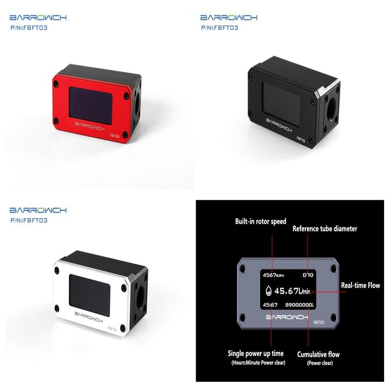 Barrowch Digital Display OLED Flow Meter Rate PC water cooling G1 4 X2 Holes 4 Colors