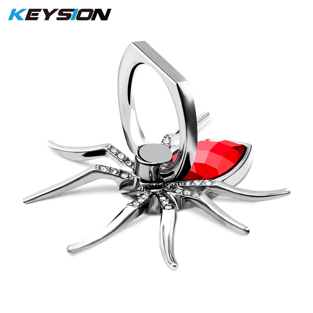 KEYSION Universal Luxury Metal Spider Bling Finger Ring Holder 360 Rotate Phone Stent Diamond Mobile Phone Holder Finger Stand