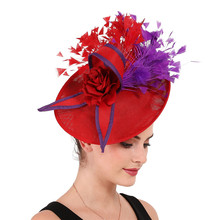 Elegant purple and red Feather Fascinator Wedding Bridal hairClip Hat for Party Cocktail Headpiece Lady Floral Pattern HeadWear