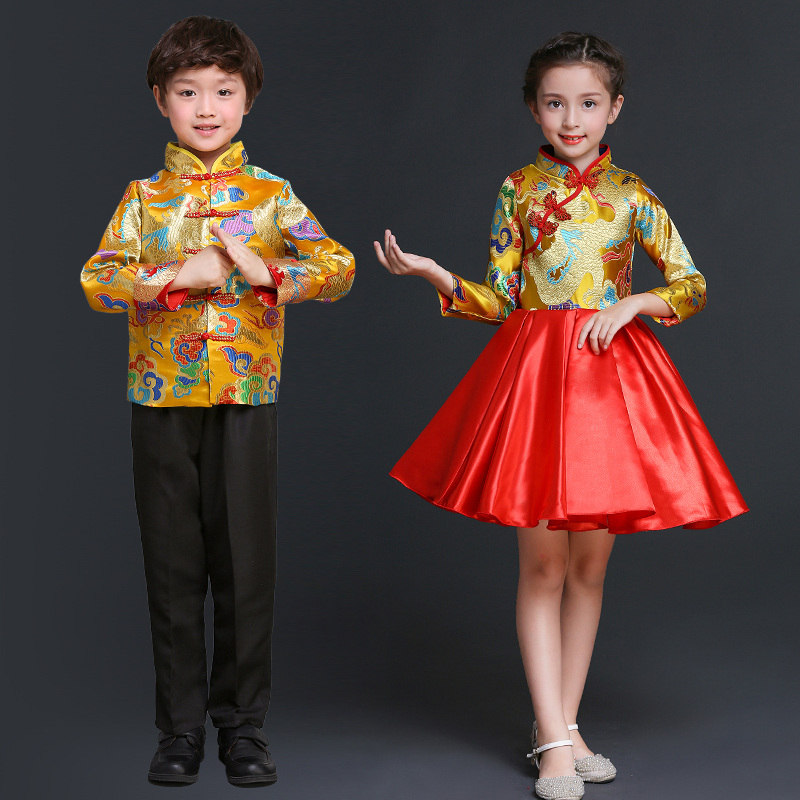 baby chinese new year clothes modern oriental style dresses chinese traditional dress yellow. Black Bedroom Furniture Sets. Home Design Ideas