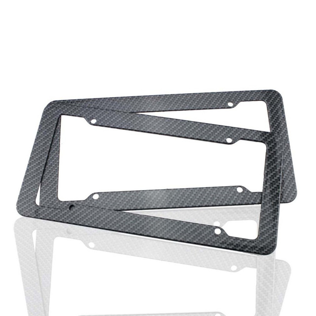 2pcs New License Plate Frames Carbon Fiber Plastic Front & Rear ...