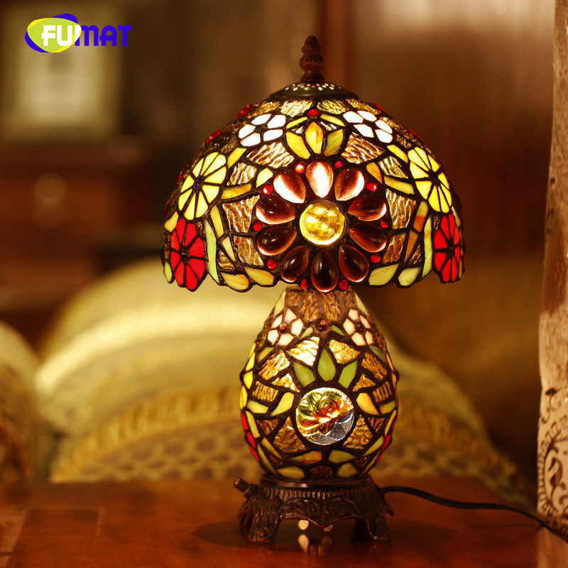 FUMAT Glass Art Table Lamp Creative Stained Glass Sun flower Table Lamp Home Decor Living Room Office Light Fixtures Bedside|art table lamp|flower table lamps|table lamp - title=