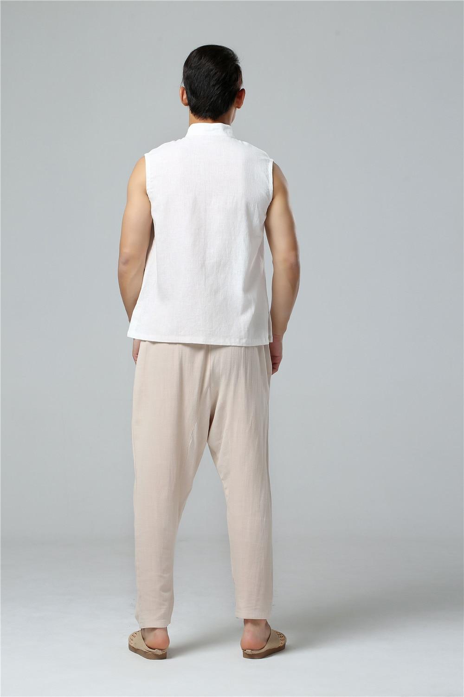 LZJN 2019 Men's Summer Waistcoat Chinese Style Vintage Breathable Linen Button Down Kung Fu Shirt Sleeveless Vest Jacket  (14)