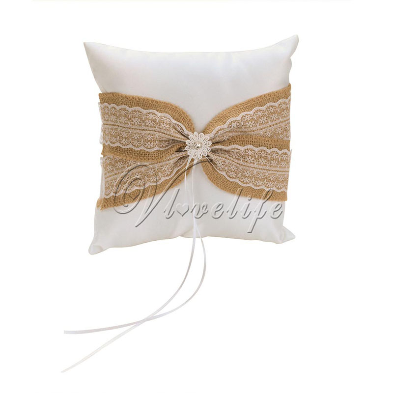 Natural burlap ring bearer pillow bridal pillow ring cushion wedding ring bearer cushion,wedding ring pillow