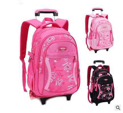 Brand Kids Children Travel Trolley Backpacks On wheels Trolley School bag Children luggage Trolley Rolling Bag School Backpacks