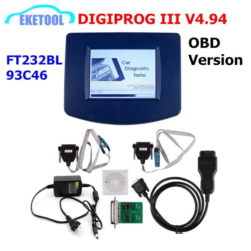 DIGIPROG III V4.94 Version OBD programmeur odomètre Digiprog 3 kilométrage Correct Digiprog3 OBD FT232BL & 93C46 DIGIPROG OBD ST01 ST04