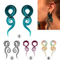5 14 MM Fashion Spiral Snail Ear Stretcher Expander Punk Geometric Colorful Glass Ear Plugs Flesh