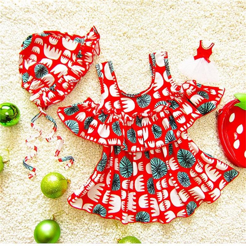 Lovely Sweet Kids Swimsuit Baby Swimwear Children Swimming Girls One-pieces Red Color Infant Bath Suit Beachwear 2-9years(China)