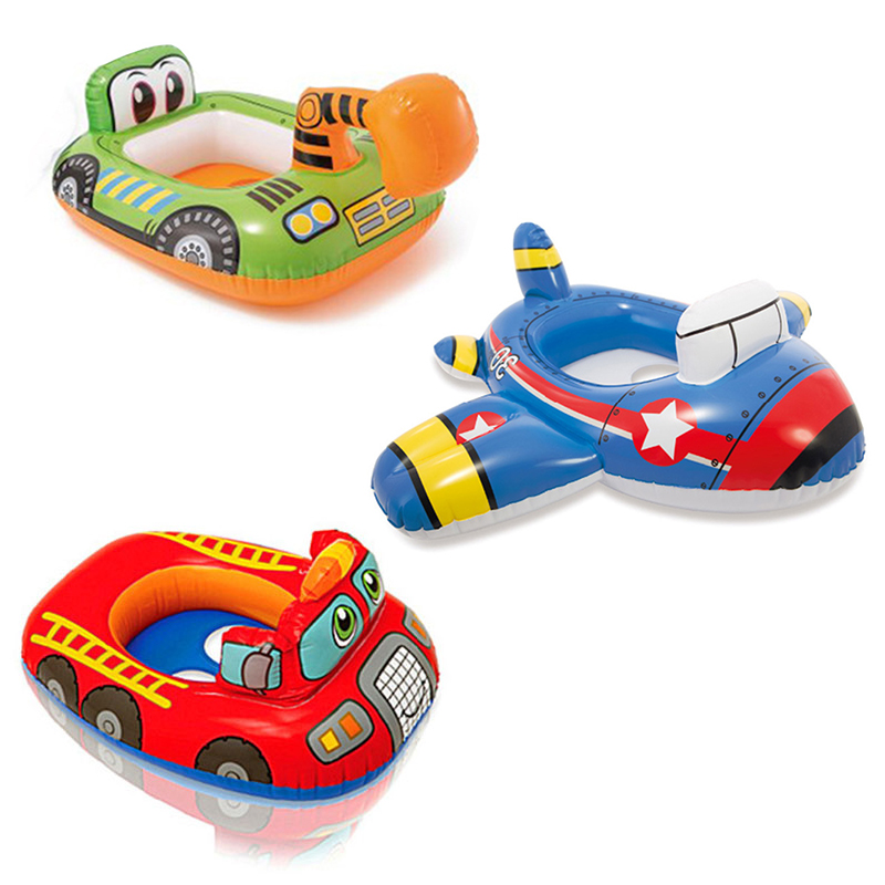 3 Style Baby Cartoon Swimming Pool Excavator Inflatable Circle Child Aircraft Swim Ring Fire Truck Seat Pool Float Water Toys