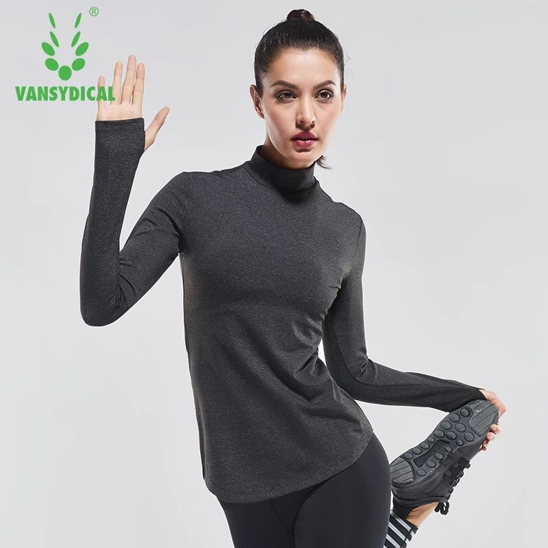 Vansydical Women Yoga Shirts Long Sleeve Gym Running Workout T Shirt Thumb Hole Design Fitness Training Sports Tops Sportswear