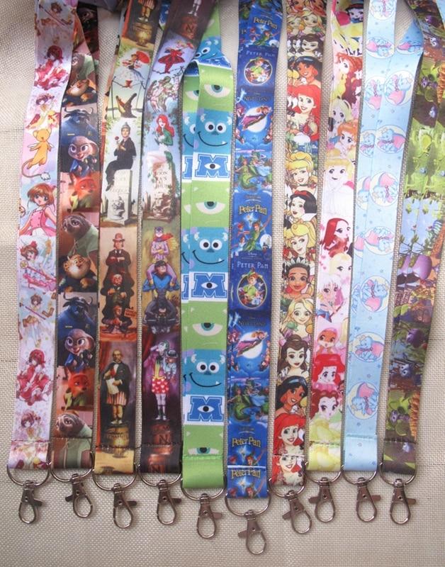 50 pcs lot cartoon mix Princess eye Anime Necklace Strap Lanyards Cell Phone PDA Key ID