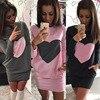 2016 Hot Sale New Autumn Casual Heart Print Long Sleeve Women Dresses Bodycon Sexy Short Mini