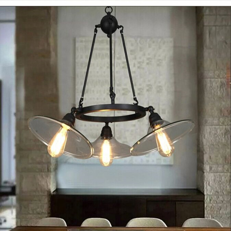 3/5 Lights Loft Industrial Retro Restaurant Lamp Vintage Glass Dining Room Lights Coffee Shop Bar Light E27 Light Fixtures loft edison vintage retro cystal glass black iron light ceiling lamp cafe dining bar hotel club coffe shop store restaurant