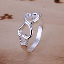 "wholesale fine Silver plated ring 925 jewelry fashion Silver ""8"" rings for women/men"