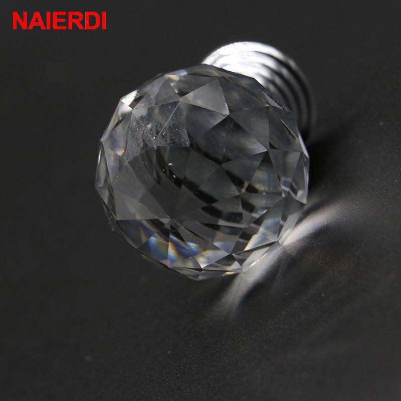NAIERDI 20 30mm Crystal Handle Clear Glass Knobs Cupboard Drawer Pulls Kitchen Cabinet Wardrobe Handles Furniture Door Hardware in Cabinet Pulls from Home Improvement