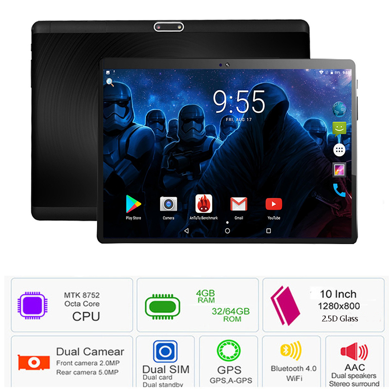 Tempered 2.5d Glass 10 Inch Tablet Pc Android 7.0 Os Mtk8752 Octa Core 4gb Ram 64gb Rom 8 Cores Bluetooth Wifi Tablet Pc 10 10.1