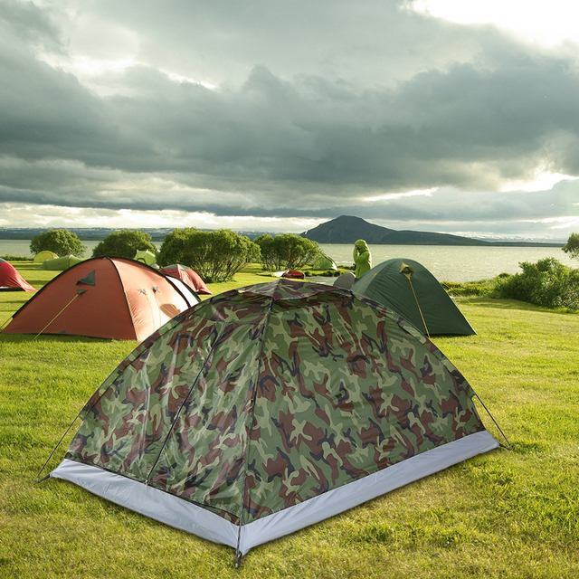 TOMSHOO 1/2 Person Camping Tent Beach Tent Single Layer Tent Portable Camouflage Polyester PU1000mm Camping Hiking Outdoor Tent 6