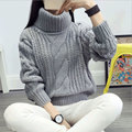 New 2016 Autumn Fashion Turtleneck Thick Sweaters And Pullovers Women European Style Funnel Neck Loose Women Clothing 4 colors