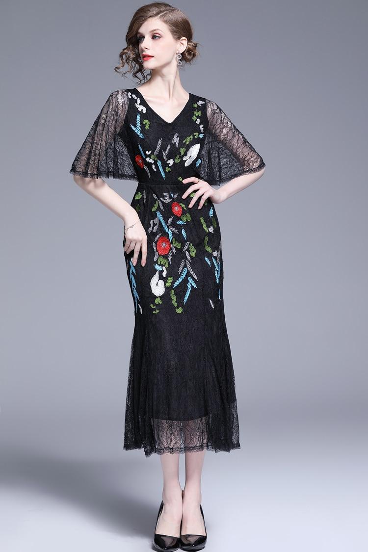 V-Neck Floral Embroidered Lace Dress 5