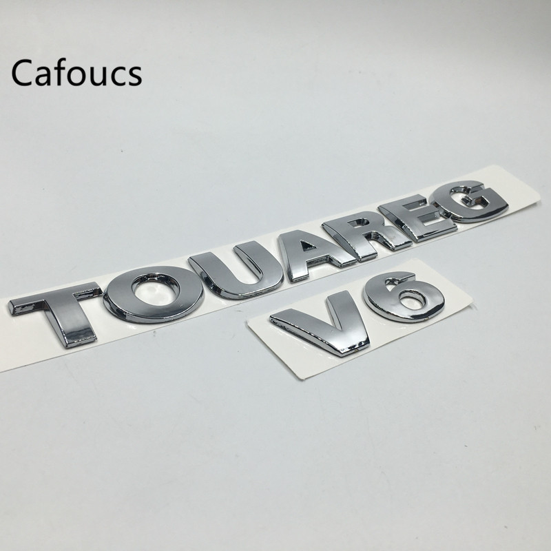 Cafoucs For VW Volkswagen Touareg V6 V8 Emblem Chrome ABS Rear Boot Logo Trunk Letters Car Accessories cafoucs 3d letters for hyundai accent car rear trunk emblem abs chrome badge logo nameplate sticker