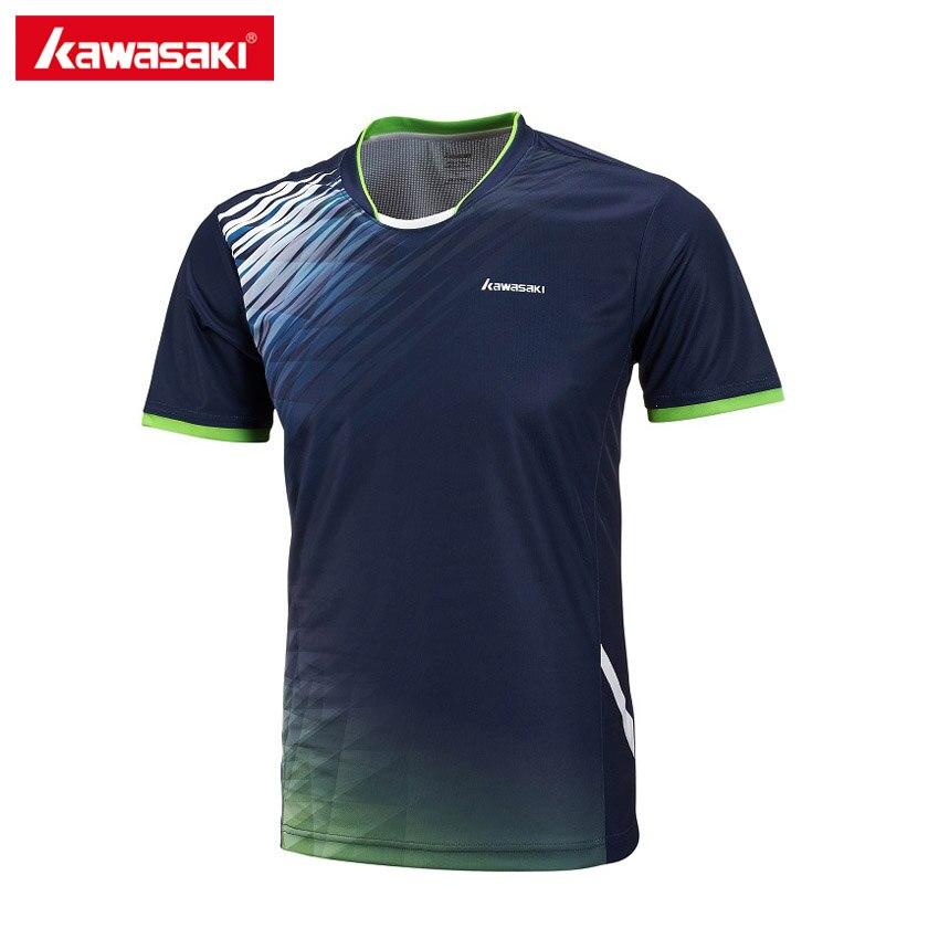 2017 Kawasaki Для мужчин Бадминтон футболки 100% полиэстер быстросохнущая Спортивная одежда для Фитнес Теннис обучение одежда st-171018