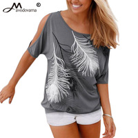 Mavodovama Summer Casual Tops 2016 Sexy Women Feather Print Short Sleeve Off Shoulder Round Neck Top