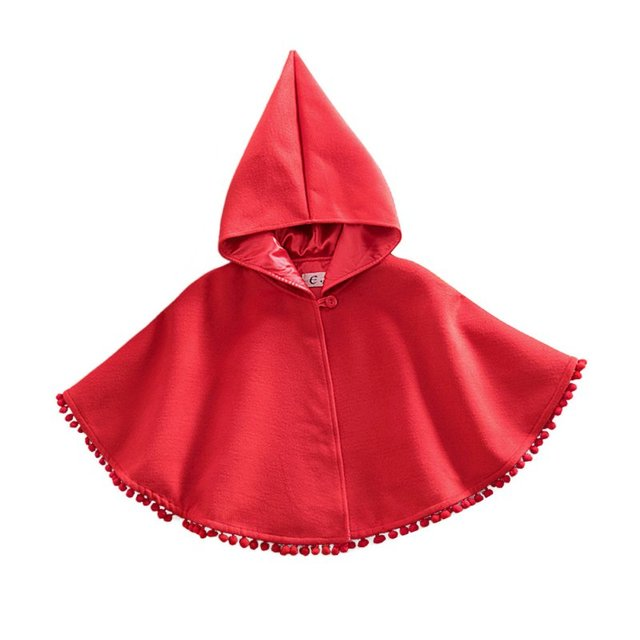 New Design Baby Kids Toddler Red Warm Hooded Cape Cloak Poncho Coat Hoodie Jacket Outwear DH
