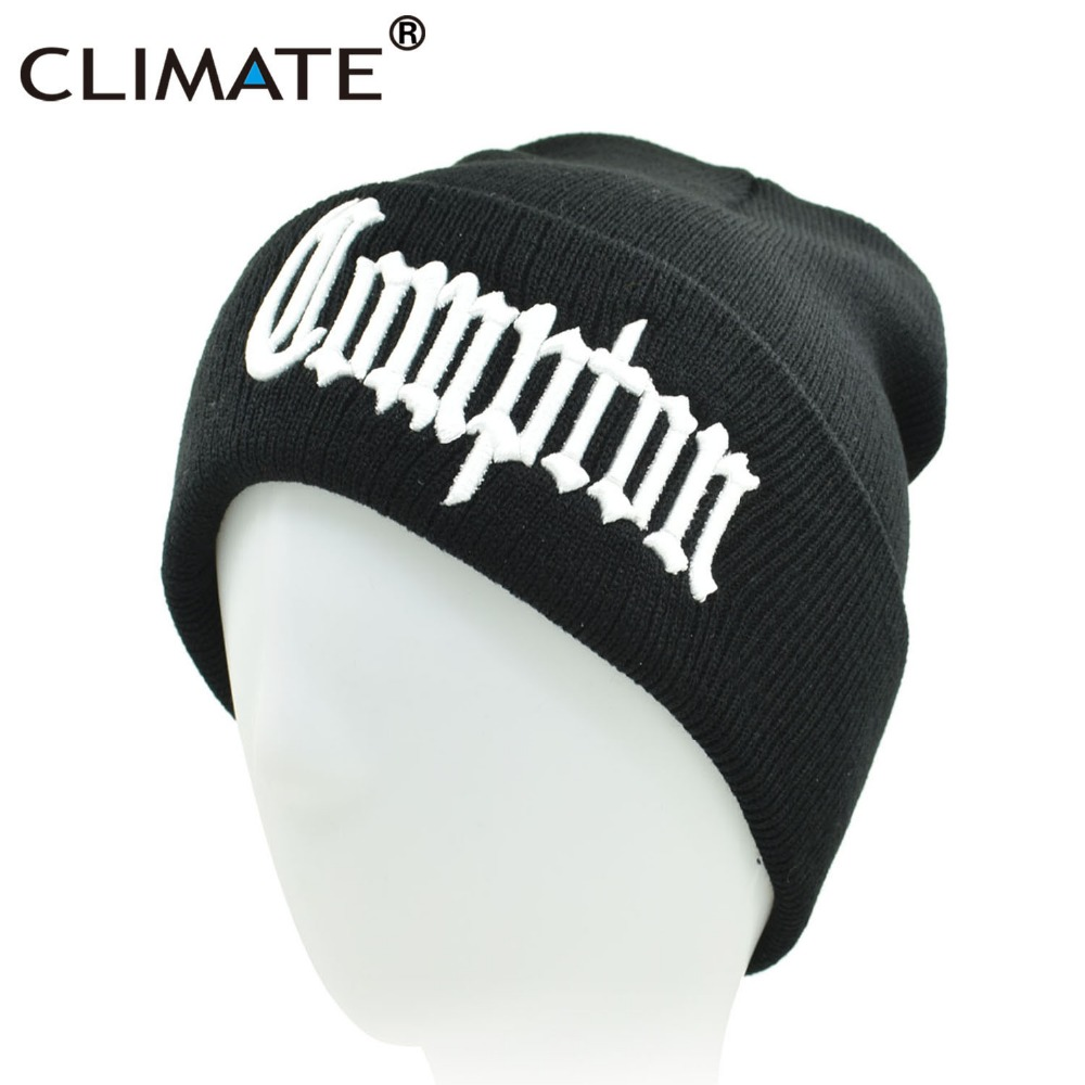 CLIMATE Men Compton Winter Warm Beanie Hat COMPTON Black Knit Skullies  Beanie Casual Cool Black Hip Hop Warm Hat For Men Women 718db8c910d4