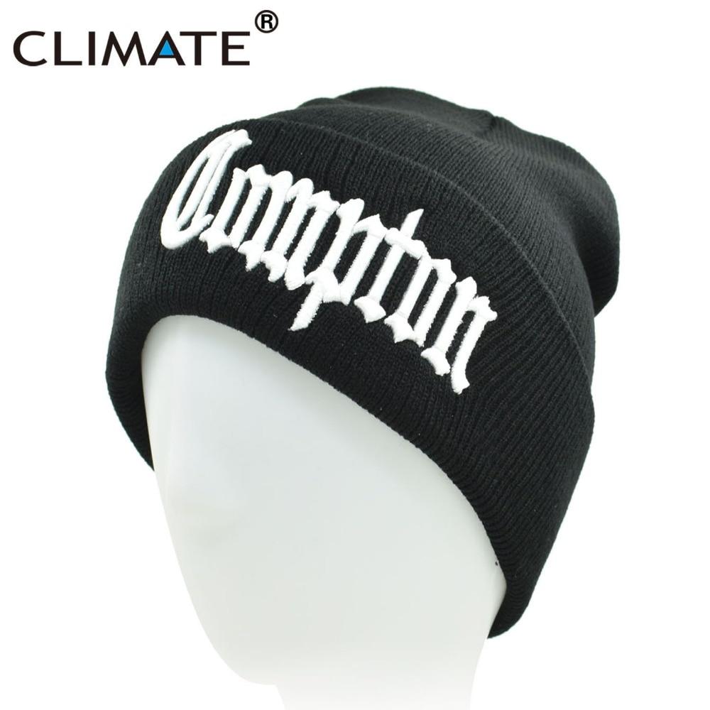 CLIMATE Men Compton Winter Warm   Beanie   Hat COMPTON Black Knit   Skullies     Beanie   Casual Cool Black Hip Hop Warm Hat For Men Women