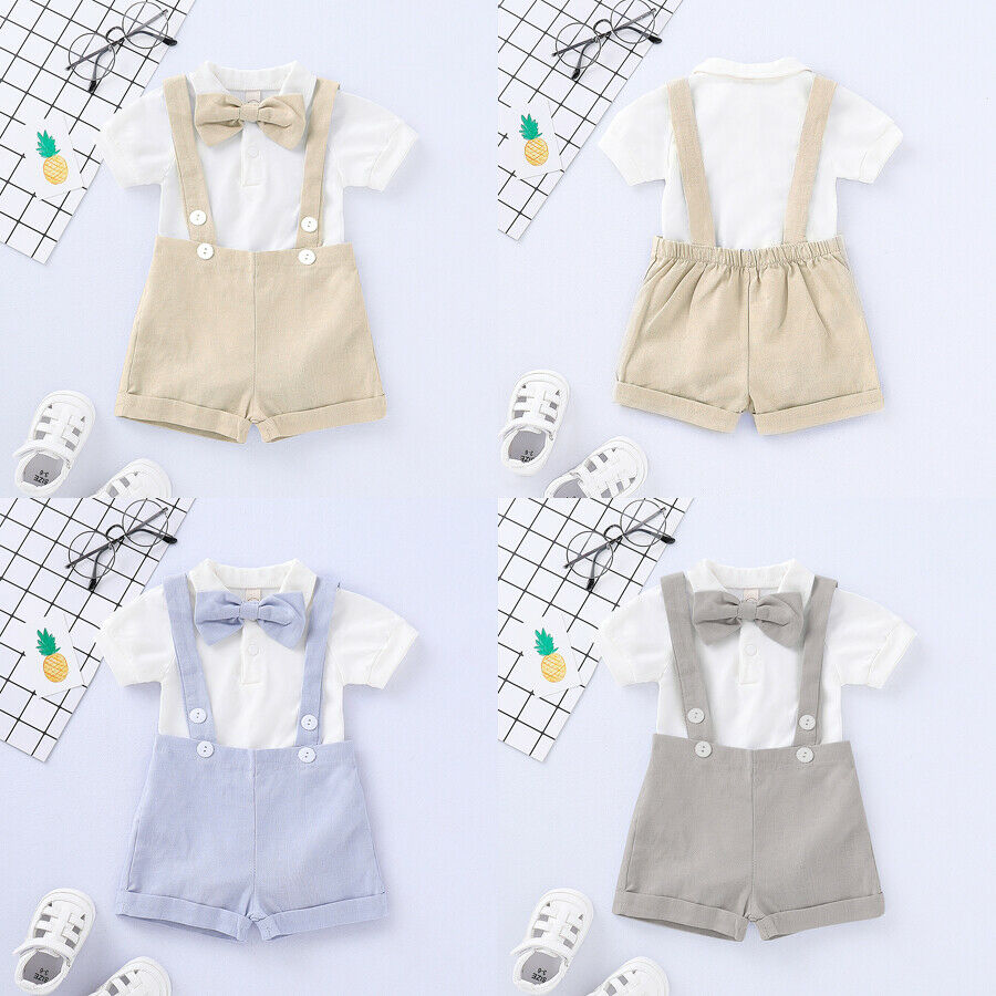 Newborn Baby Boys Clothes Gentlman Romper Button Tops Suspender Trousers Bow Tie 3pcs Formal Party Jumpsuit Outfits