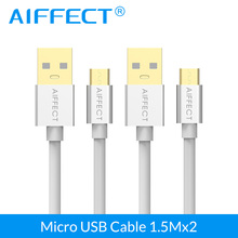 AIFFECT  2 PCS High Speed Micro B Cable Aluminum USB Micro-USB to Standard Cord Charging Data 1.5M 5Ft