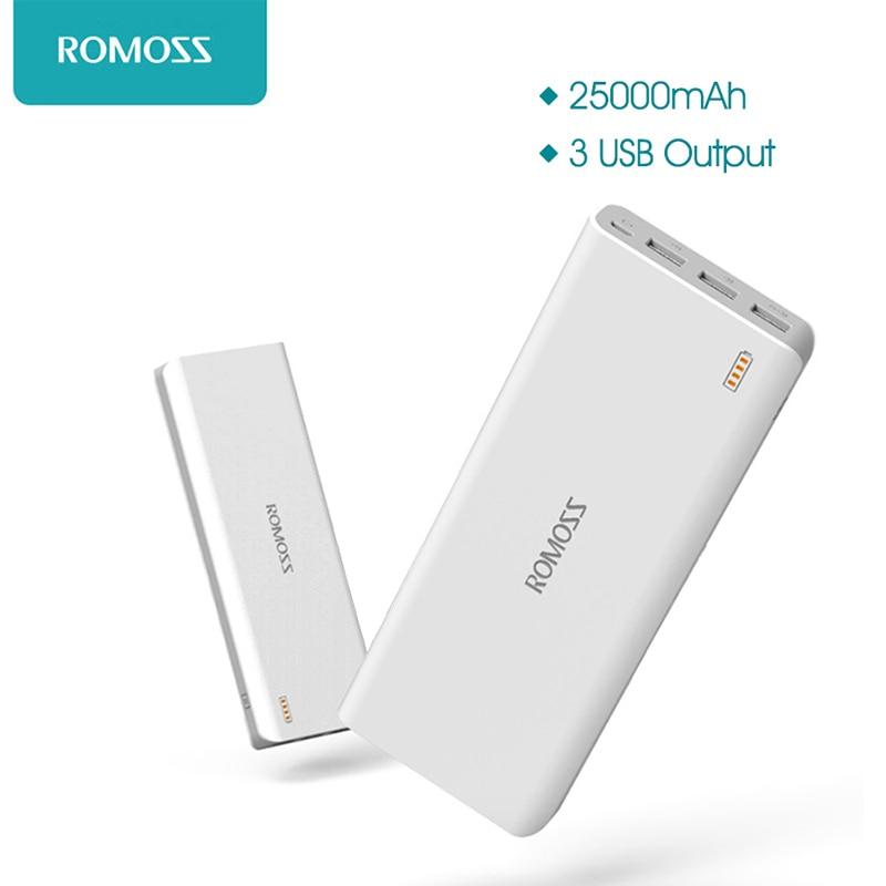 imágenes para 25000 mAh ROMOSS Sense 9 Banco de la Energía Externa de Tres USB Puerto de Carga Para Samsung HTC Sony Nokia Xiaoxi S6 Android