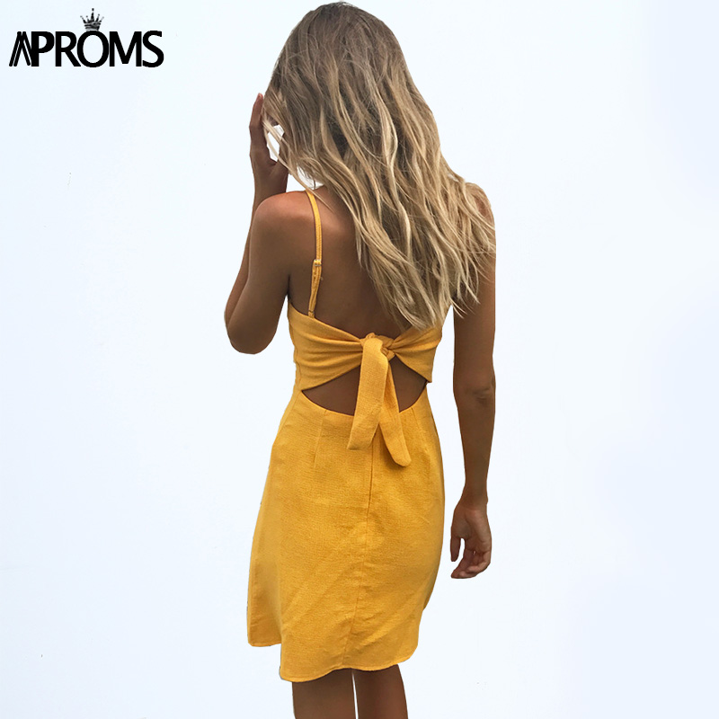 Aproms Elegant Linen Dress Back Tie Up Bow Sundress Women Slim Fit Bodycon Summer Dress Yellow Red Soild Short Dress Vestidos