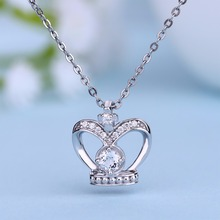 Wedding Crown Queen Pendant Crown Necklace  Natural Stone Topaz 925 Sterling Silver Necklace for Wedding Gift Fine Jewelry