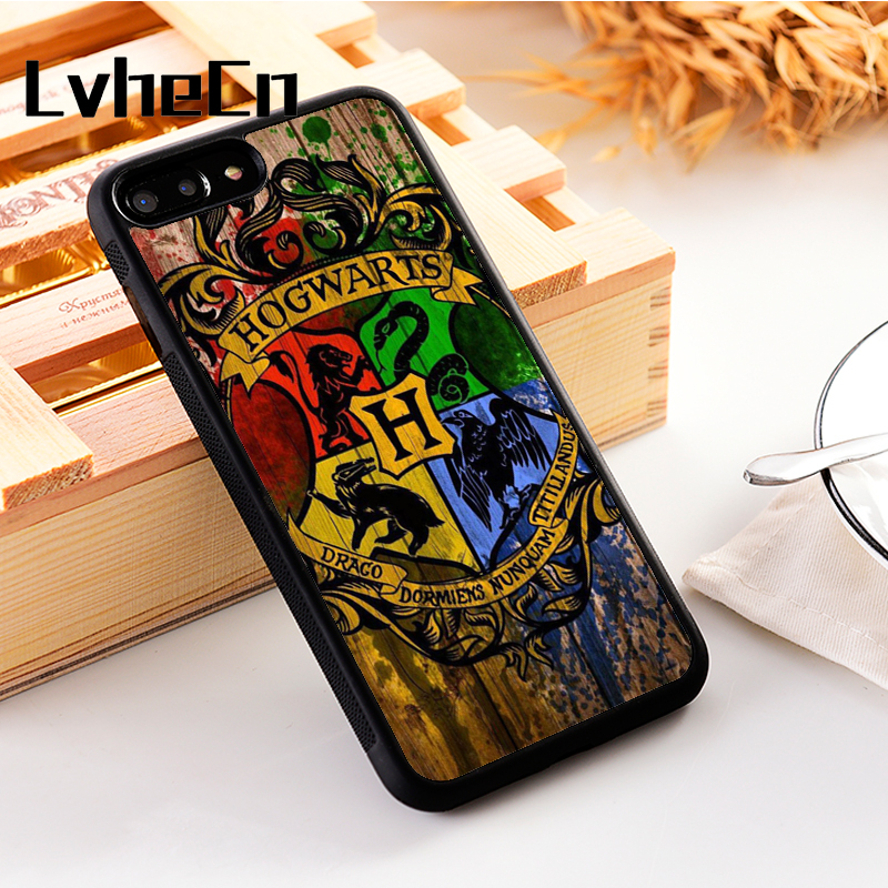 LvheCn 5 5S SE phone cover <font><b>cases</b></font> for <font><b>iphone</b></font> 6 6S 7 <font><b>8</b></font> Plus X Xs Max XR Soft TPU New <font><b>Harry</b></font> <font><b>Potter</b></font> Hogwarts House Crests Emblems image
