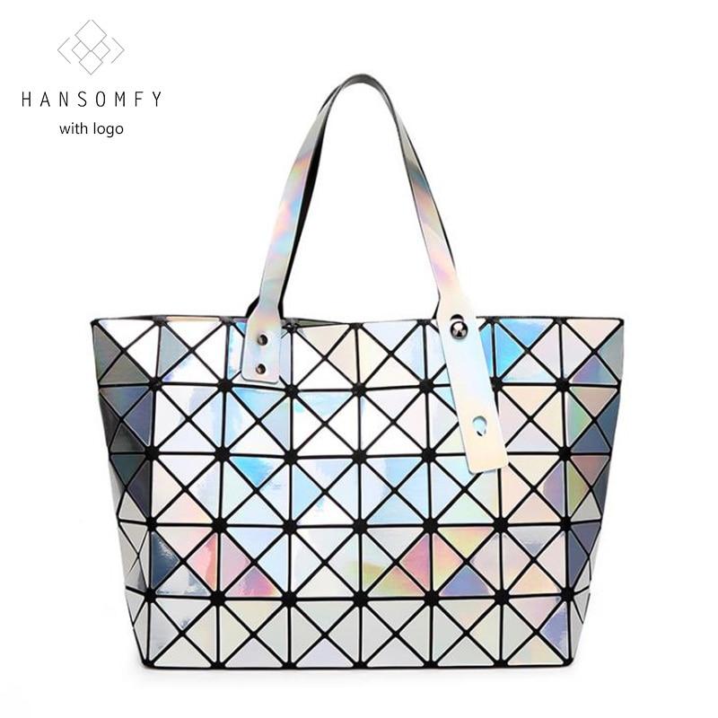 diamond lattice fold over bags brand bao bao laser color women handbag shopper bag shoulder bags
