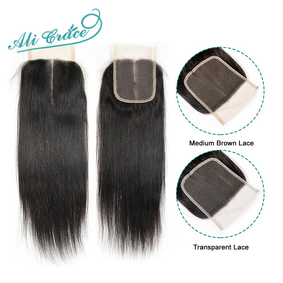 Ali Grace Brazilian Straight Closure Transparent Medium Brown Swiss Lace Closure 100 Hand Tied 4 4